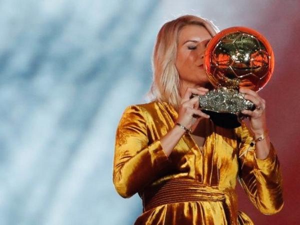 Ada Hegerberg collecting the inaugural Ballon D'or Feminin