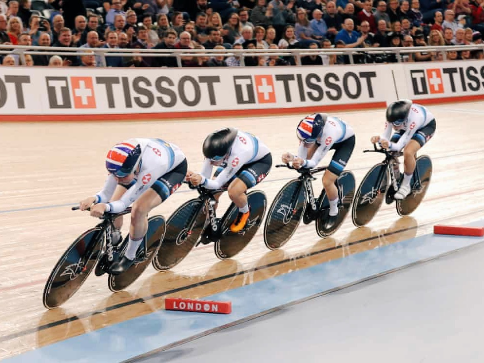 Neah Evans, Katie Archibald, Eleanor Dickinson and Laura Kenny of Team GB. Img: Tom Jenkins for the Guardian