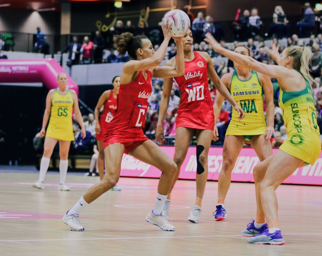 Serena Guthrie in action for the Roses against Australia on Sunday. Img: Eliza Morgan