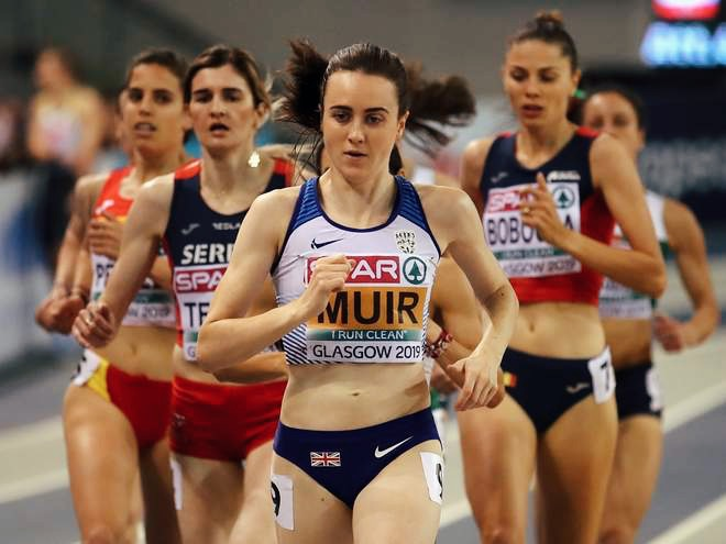 Laura Muir in action at the European Indoor Championships. Img: Getty
