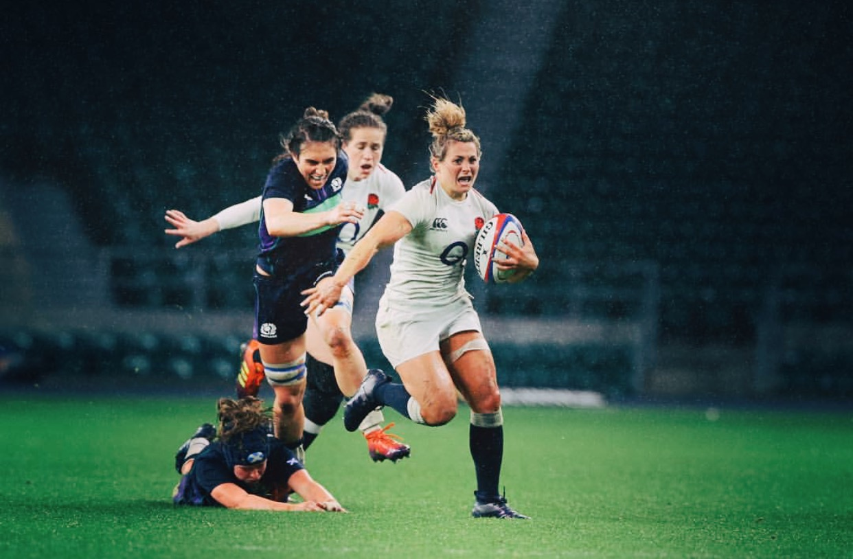 Vicky Fleetwood in action for England in the Six Nations final at Twickenham