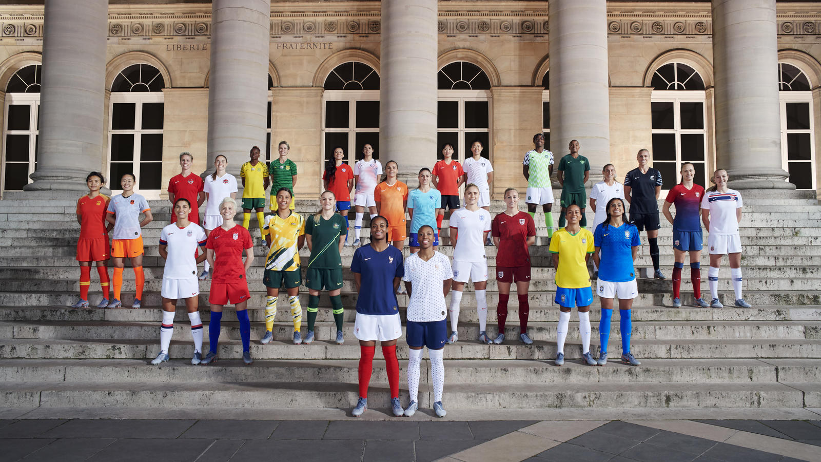 The kits on show at the launch event in Paris