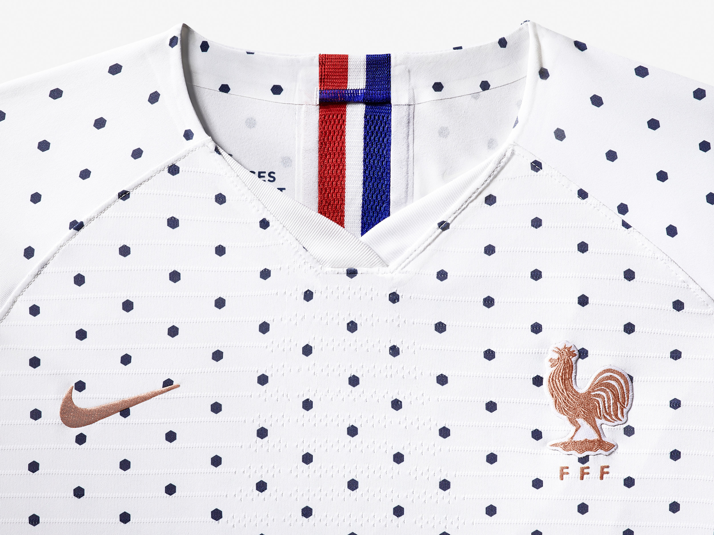 The hexadot print up-close used for France's away kit