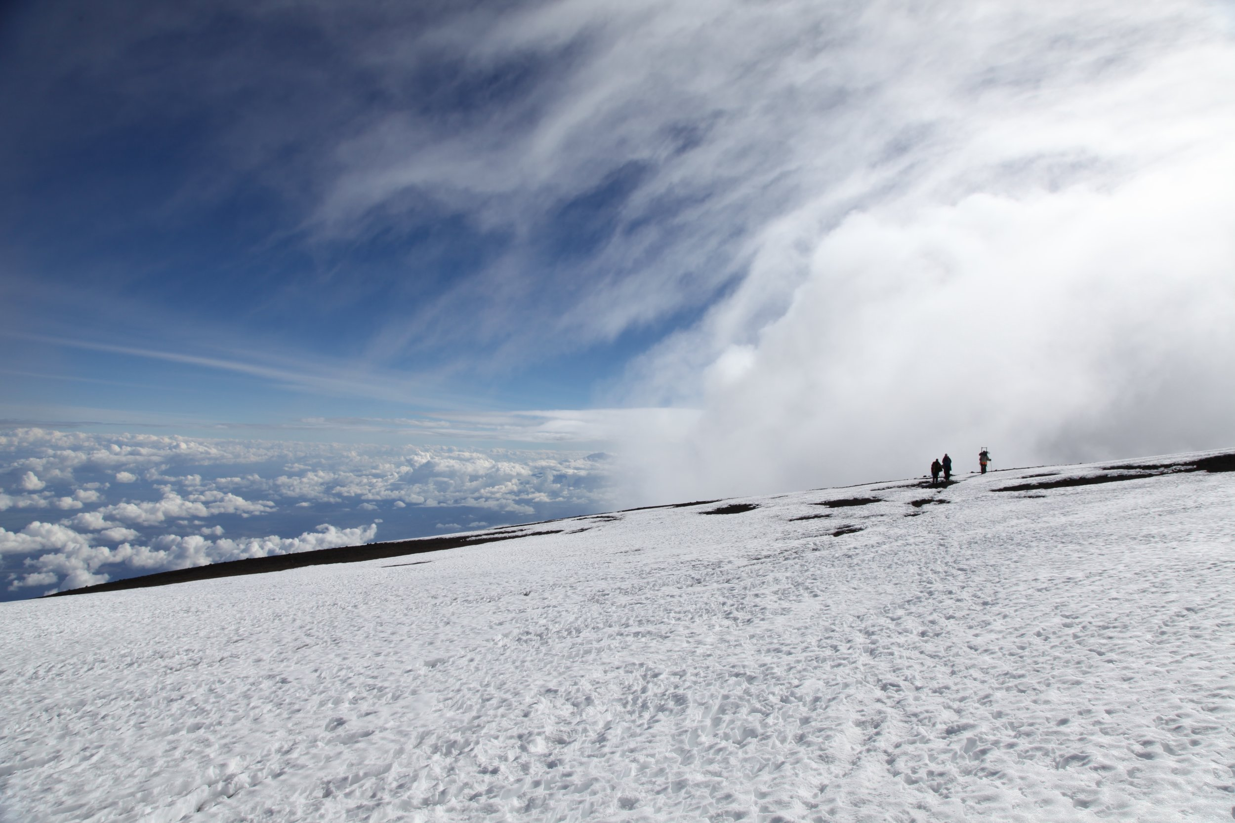 Reaching the top of Kilimanjaro before the match. Img: Dana Roesiger