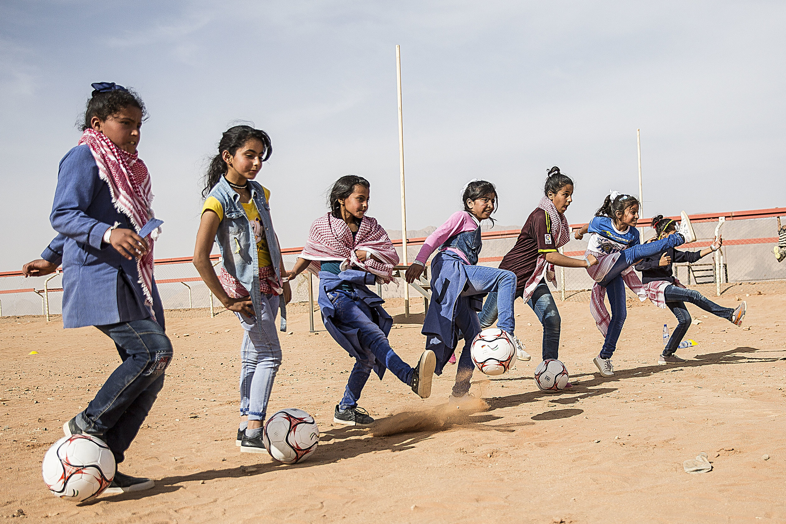 EPF held football clinics for young girls to coincide with their record attempt in Jordan. Img: Dana Roesiger