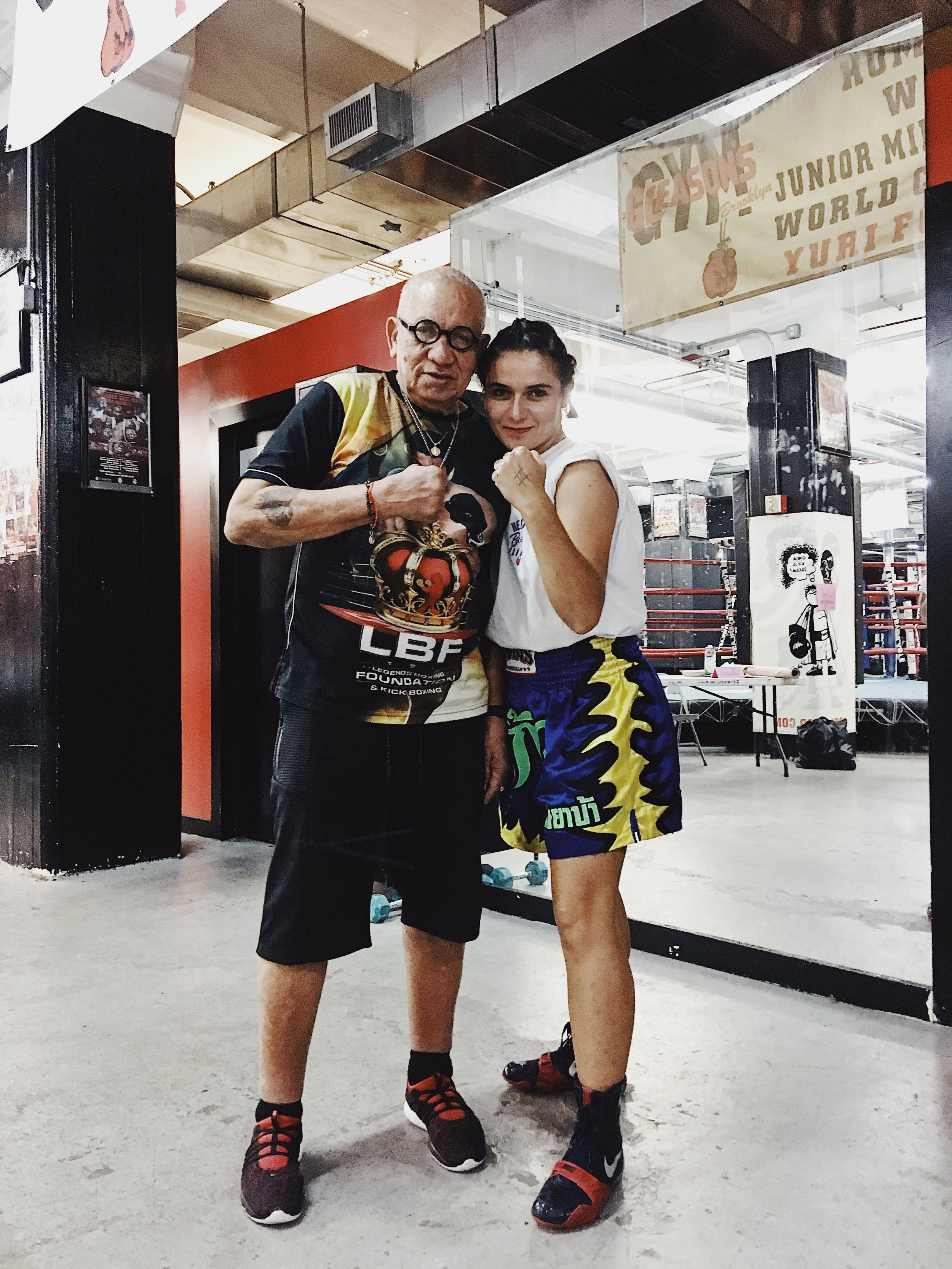 Nelly with Hector Roca, legendary trainer who she worked with whilst staying in NYC