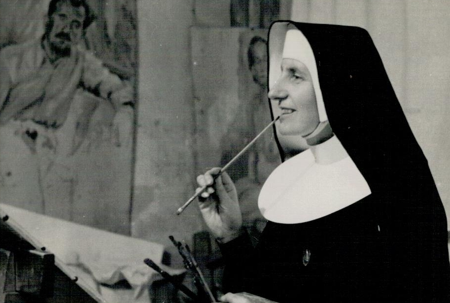 Siostra M. Elżbieta Grzegorzewicz w Szkole Rysunkowej Saska Kępa.