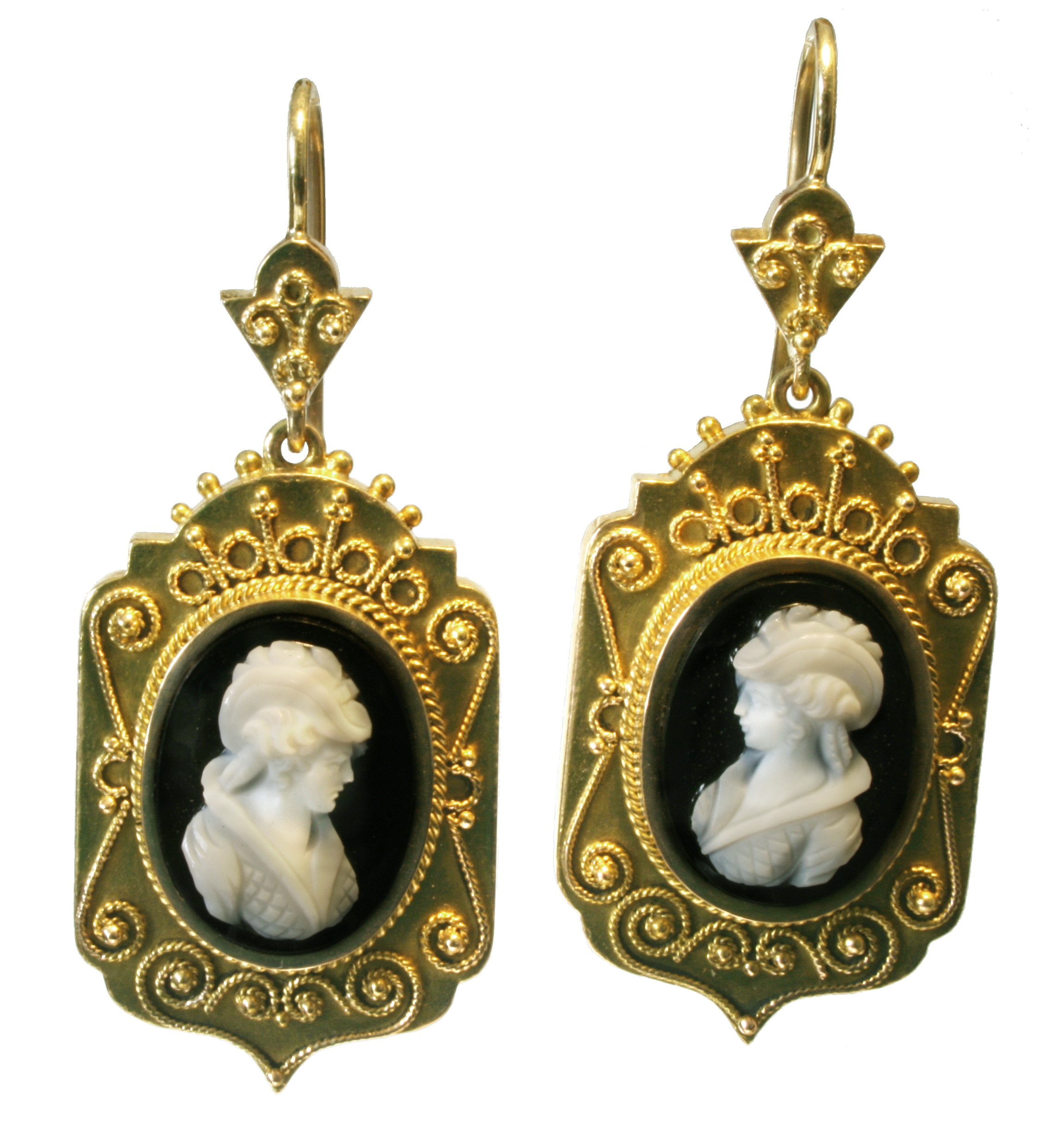 Antique 15ct Gold Cameo Earrings
