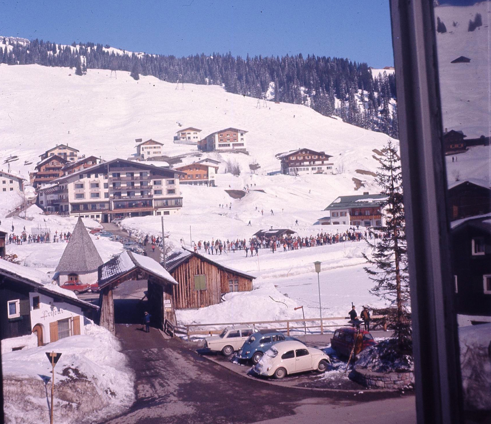 Ski-school view from Room 12 of the Gasthof Post