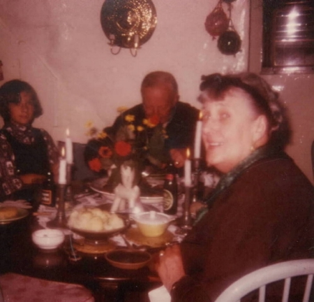 Dutch Grandma and Grandpa with Chump in the dining room at Meares