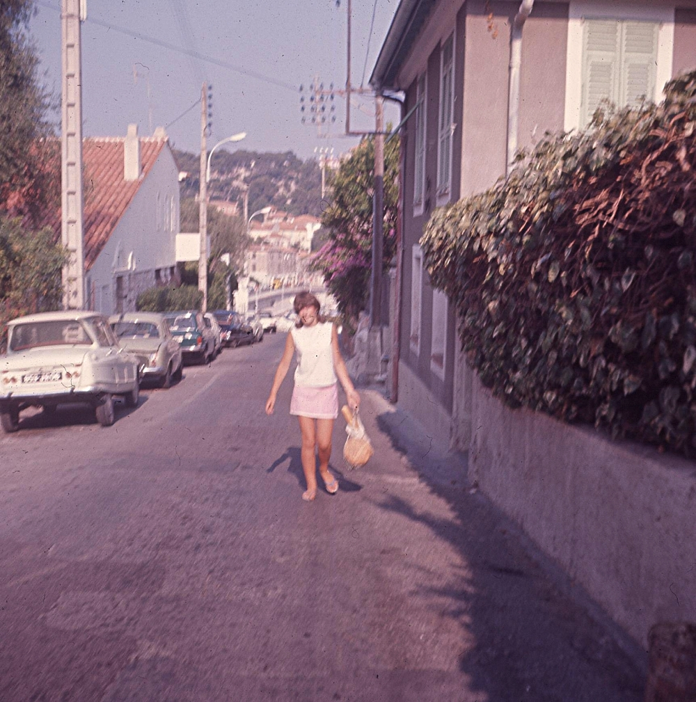 """""""Walking back up the hill it was absolute murder, so baking hot.""""Ingrid in her pink towelling skirt, with bunches"""