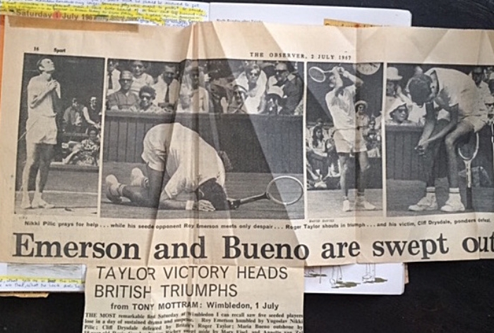 Five seeded players slain in a day: Roy Emerson by Nikki Pilic, Cliff Drysdale by Roger Taylor, Maria Bueno by Rosie Casals, Nancy Richey by Mary Eisel, and Annette van Zyl byJudy Tegart
