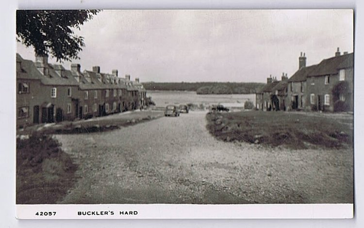 Buckler's Hard in the 1950s. It wasn't a lot different in the '60s.
