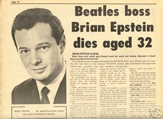 "Brian Epstein:  ""Without his contribution and sacrifice, the Beatles would not exist as we know them"" - Jeremy Deller"