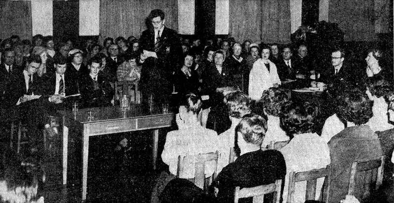 """Needless to say, Anya and me had fits as the Glyn boys filtrated in.""  Photo:  the first inter-schools debate, Northampton 1960"