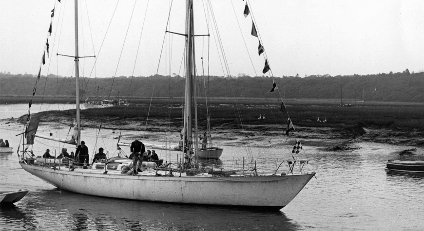 Having solo-circled the globe, Sir Francis Chichester returned 'Gypsy Moth IV' to her original morning at Buckler's Hard