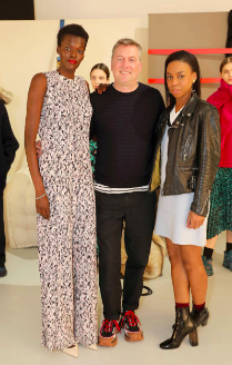 Sheila Atim, Markus Lupfer and Pippa Bennett-Warner attend the Markus Lupfer presentation during LFW February 2019 at Victoria House on February 16, 2019 in London, England. (Photo by David M. Benett)