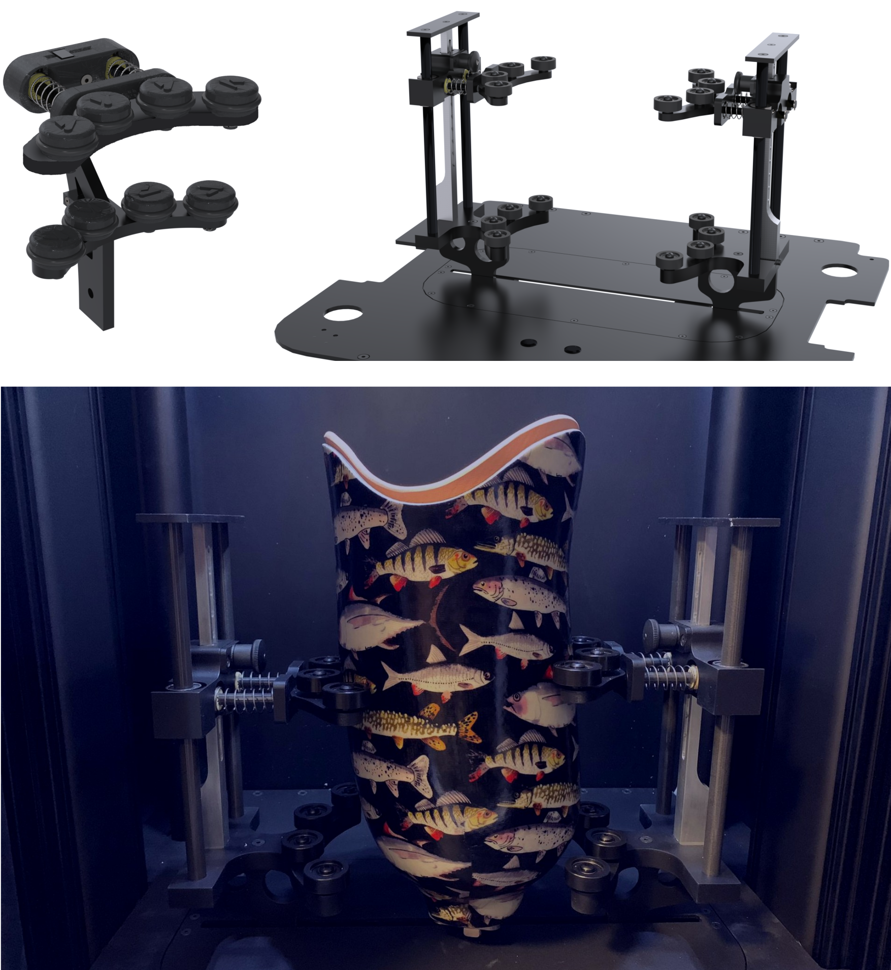 On the left, (half of) the first iteration of the socket gripper. On the right, the latest iteration, where height adjustment is possible. Below, this iteration in action, holding still a rather fishy socket.