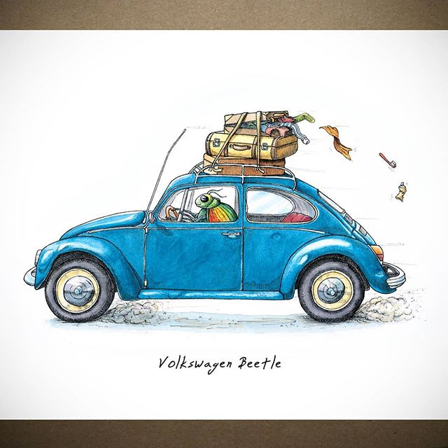 If you're off on your holidays then I hope that you pack the car better than this, frankly reckless, beetle (the driver, not the car).  Nobody wants to arrive at their destination with no knickers - me least of all.  #roofrackrebel           #bewilderbeest #illustration #drawing #artistsoninstagram #artistsofinstagram #sketch #suffolk #suffolkartist #smallbusiness #shoplocal #countryliving #countrylife #pen #instaart #artoftheday #artist #justacard #justsupportsmall #beetle #vwbeetle #volkswagen #cardrawing #mancavedecor #classiccar #roadtrip #holidayadventures #vroom #holiday #bluebeetle
