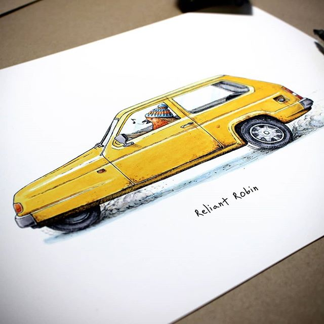 When are three wheels better than four? When it's a Reliant Robin.   In a heartening display of brand loyalty the car is being driven by a robin. I mean, this robin really lives and breathes his brand!           #bewilderbeest #illustration #drawing #artistsoninstagram #artistsofinstagram #sketch #suffolk #suffolkartist #smallbusiness #shoplocal #countryliving #countrylife #pen #instaart #artoftheday #artist #justacard #justsupportsmall #robin #britishbirds #reliantrobin #classiccar #vintagecar #stillruns #threewheeler #nurserydecor #mancavedecor #yellowcar #carillustration