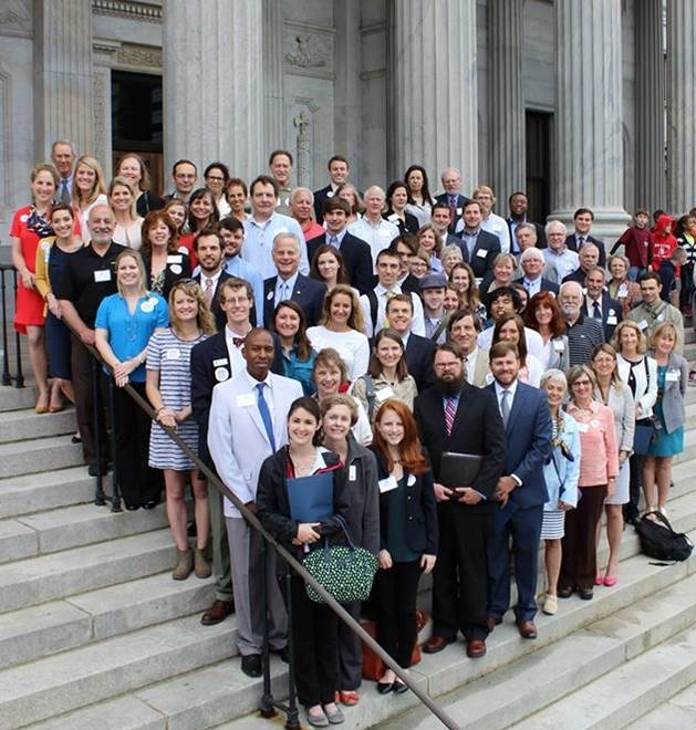 [Image Description] Conservation Lobby Day participants stand on the S.C. State House steps.