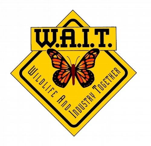 [Image description]: W.A.I.T. logo featuring monarch butterfly