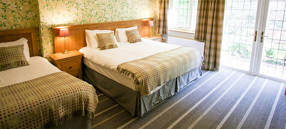 En-suite rooms with free Wifi offer views over the garden and lake