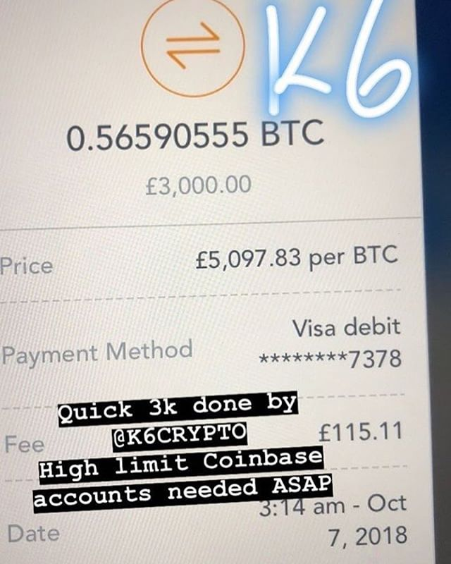Quick 3k completed by @K6Crypto👨‍💻 High limit coinbase accounts needed asap, I'm loading the full credit/debit card limit and sending 50% back to you in the crypto of your choice👌📈 Payout via bank is also possible  @K6crypto