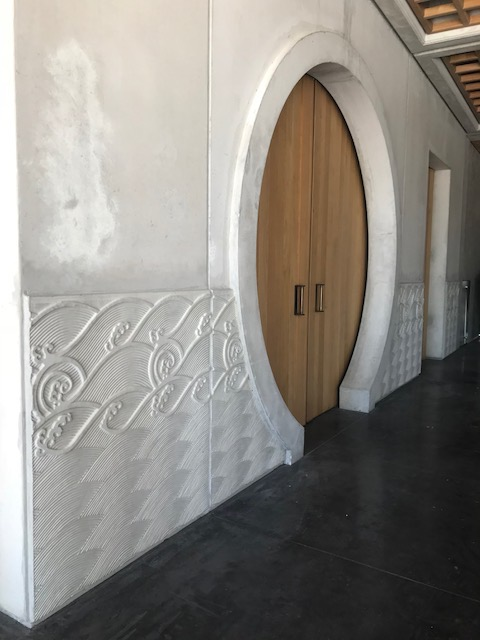 The oriental theme continues inside – the moon door entrance to the barrel cellars.