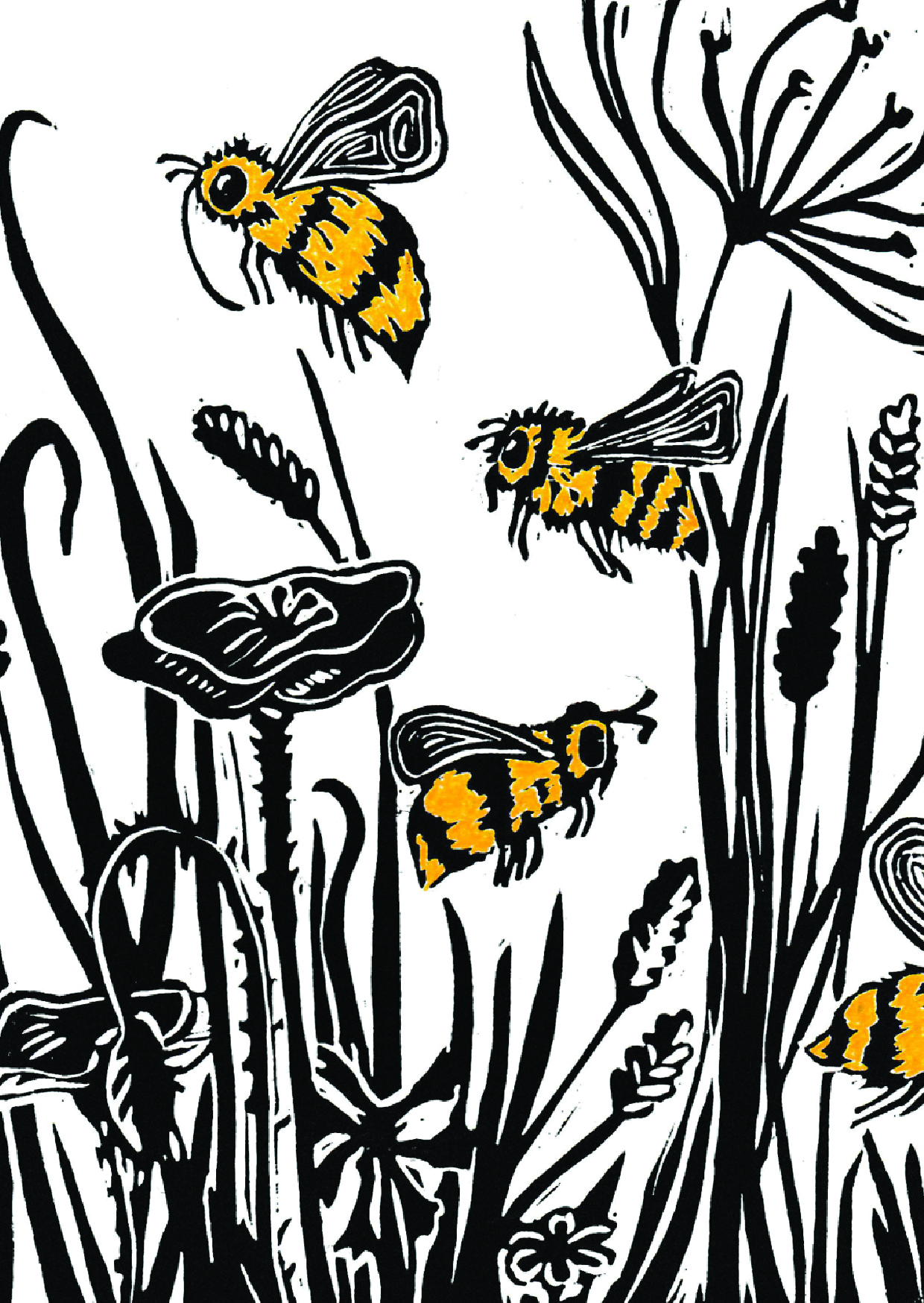- Cornfield Bees, 2016.Linoprint created for Filberts of Dorset as a greetings card design. Now available in their online store and in shops and galleries around the UK.