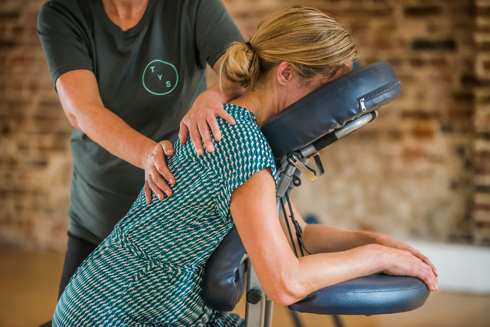 Professional Business Brand Photoshoot for TYS Massage Wll-being Service Company based in Brighton specialising using massage chair, yoga