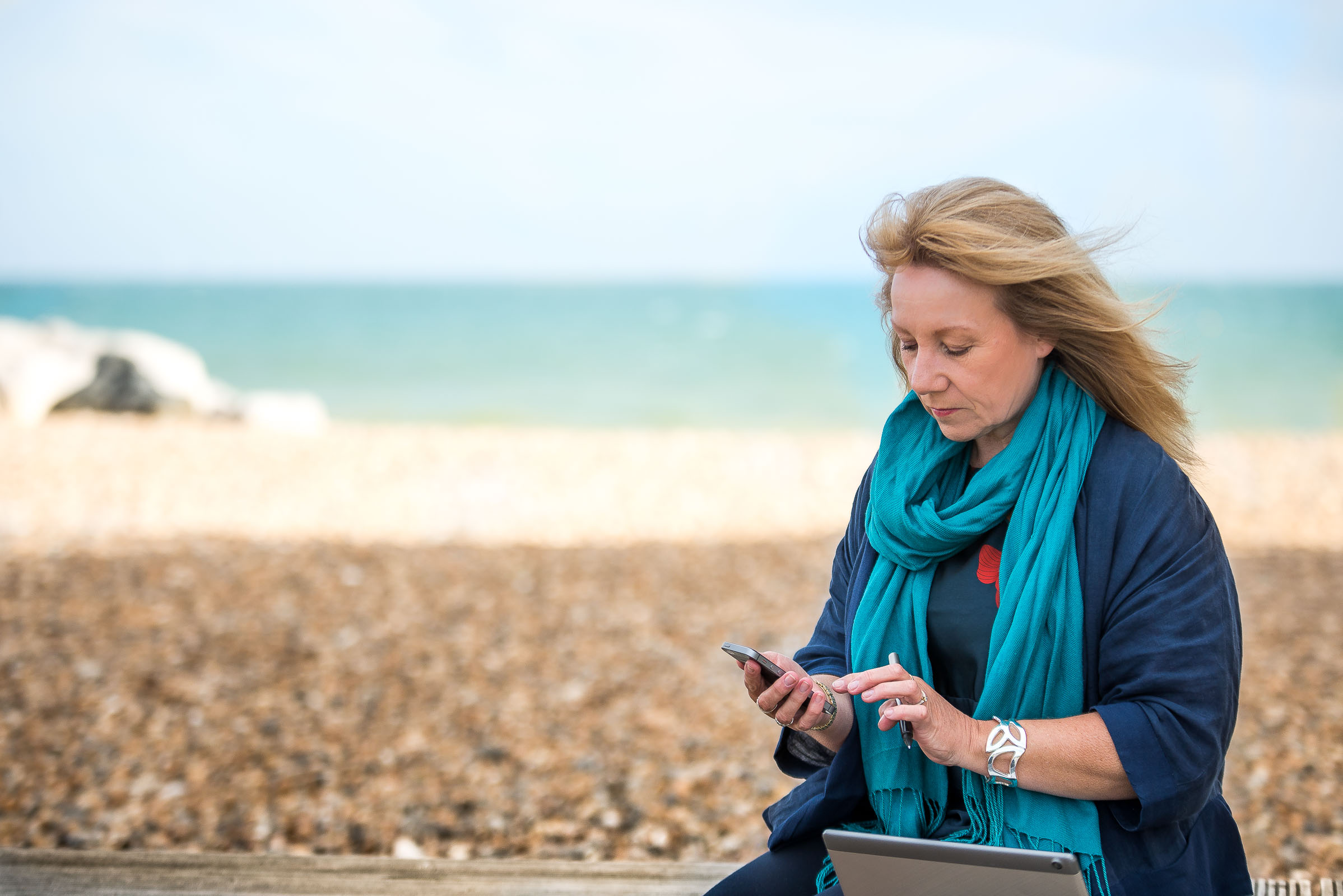 Professional Personal Branding Portrait Photo session on the beach in UK, Sussex