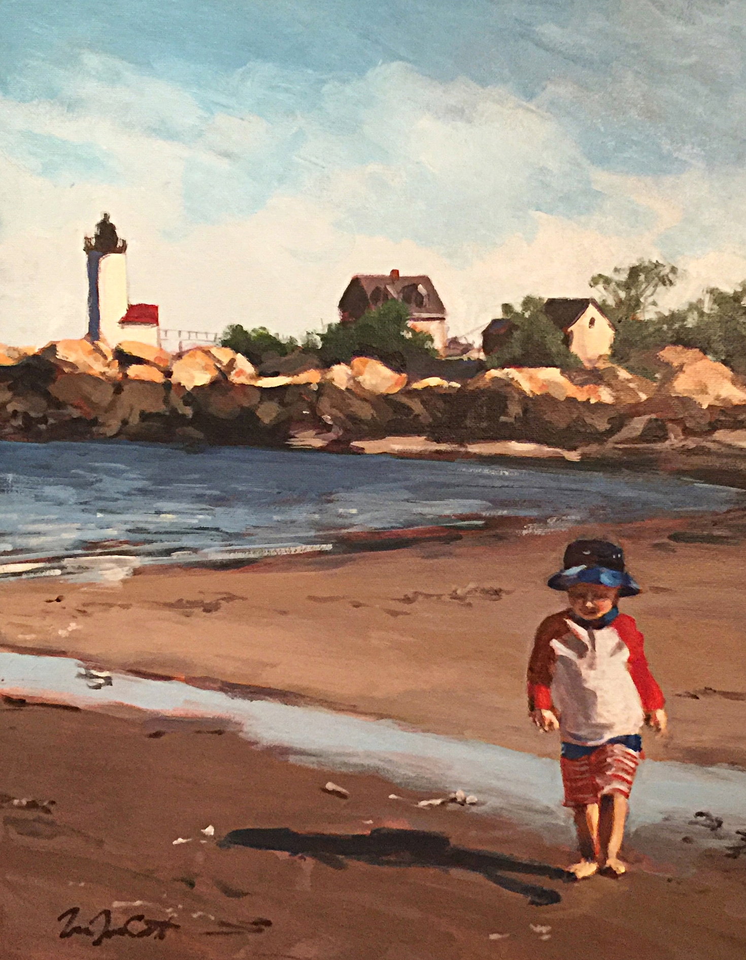 This is my client's first child, toddling along Lighthouse Beach in Gloucester, MA.