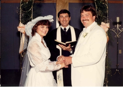 Jeff and Sandy Monzingo were the first to be married in the new building on June 2, 1984.