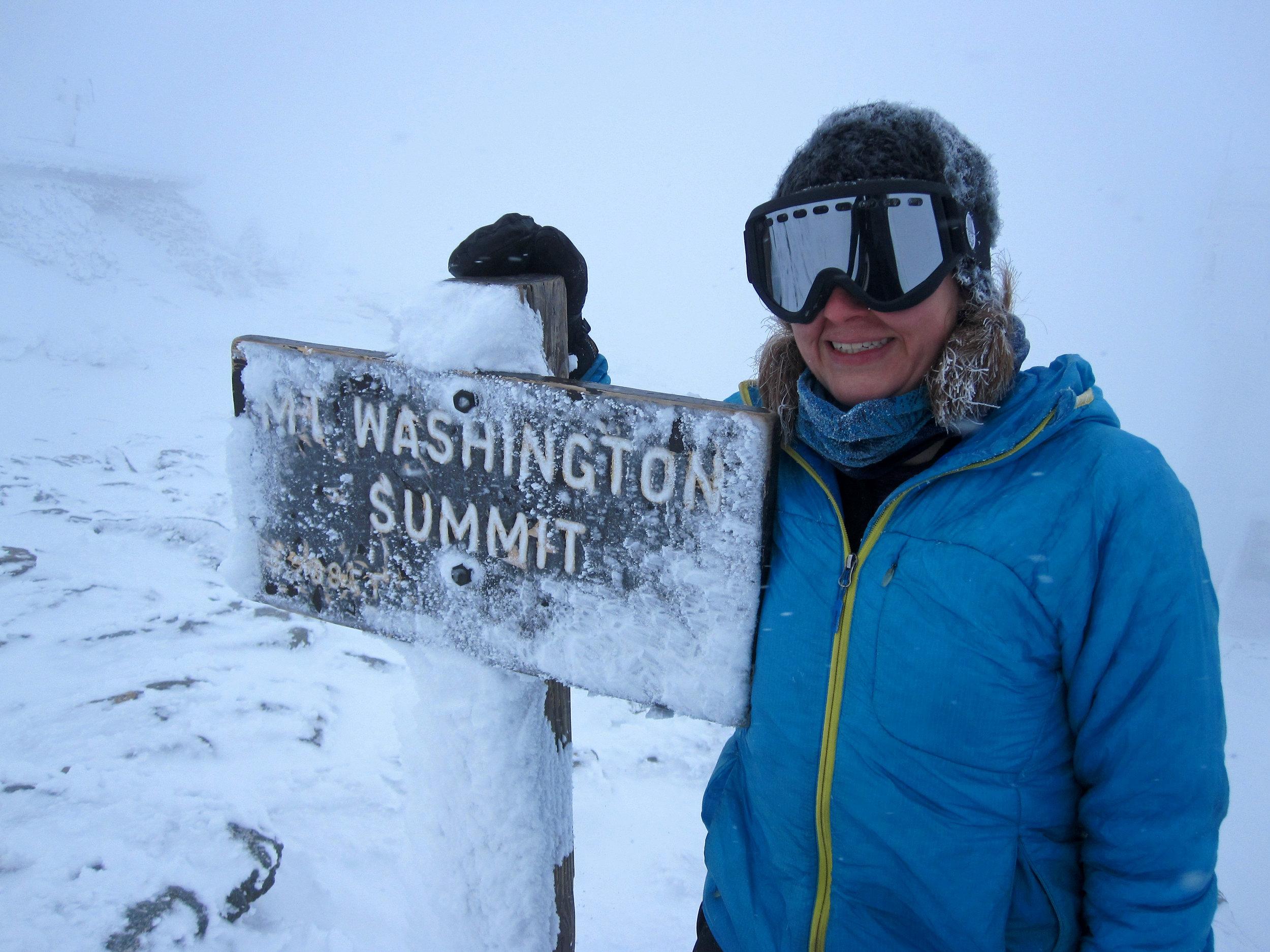 Ice on my hair on the summit of Mount Washington