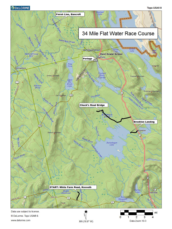 Course map for the Baskahegan Stream Canoe Race.
