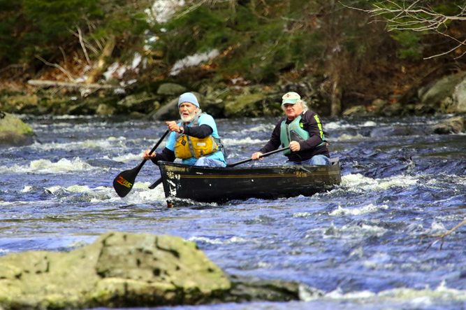 Chip and Terry paddling the St. George