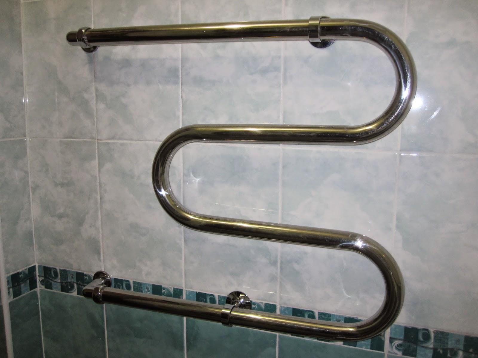 Heated towel rack in Russian hotel.