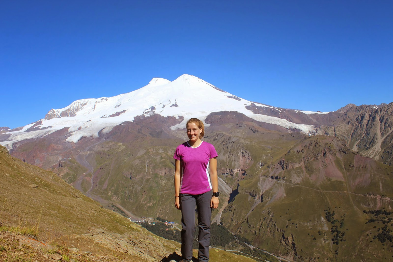 View of Mount Elbrus from Mount Cheget.