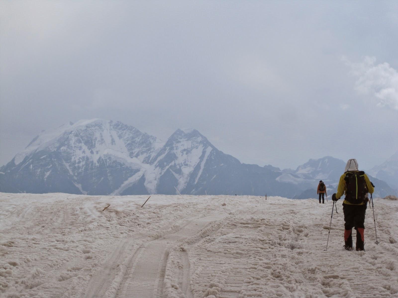 Walking on the glacier on Mount Elbrus