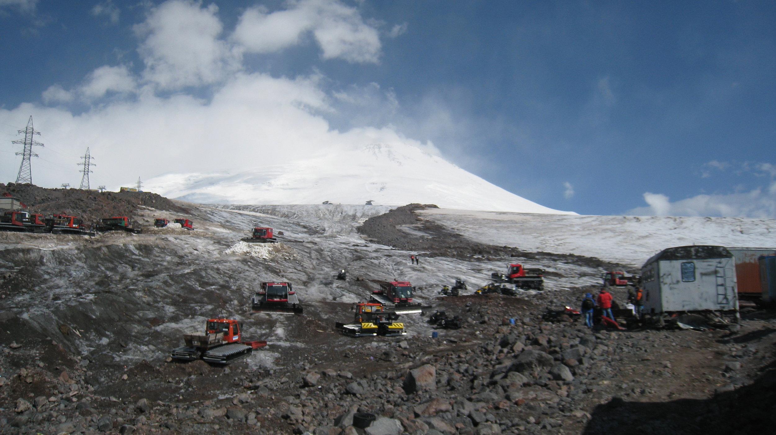 Snow cats at Mount Elbrus base camp barrel huts