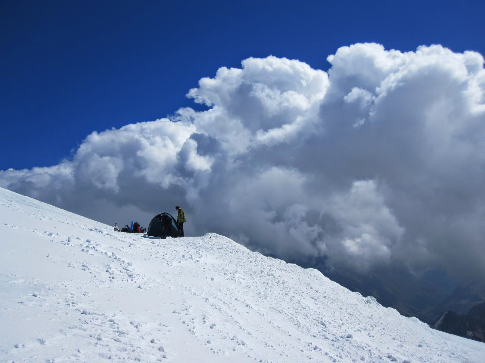 Camping above the clouds on Mount Elbrus