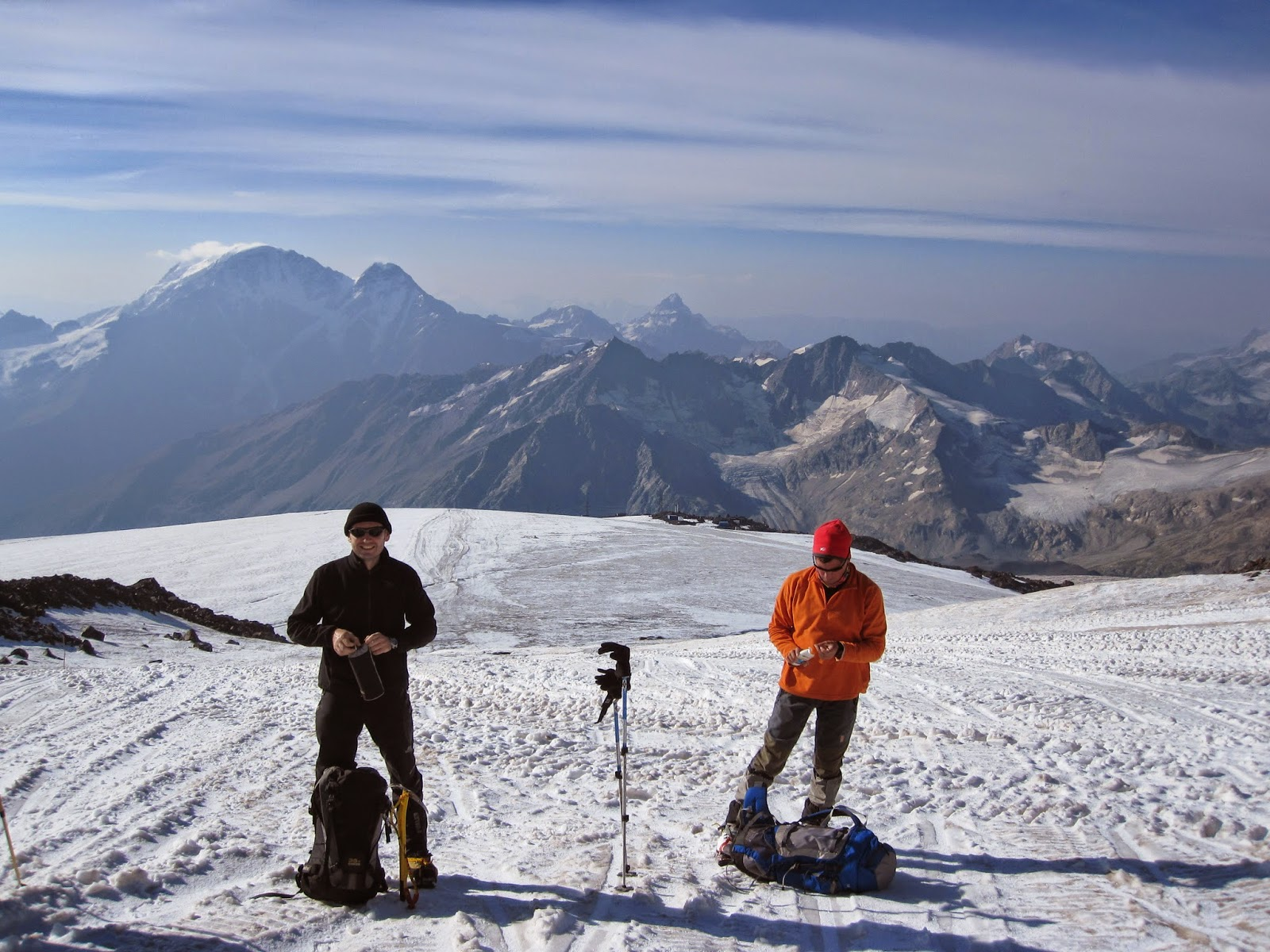 Taking a break on our acclimatization hike up Mount Elbrus.