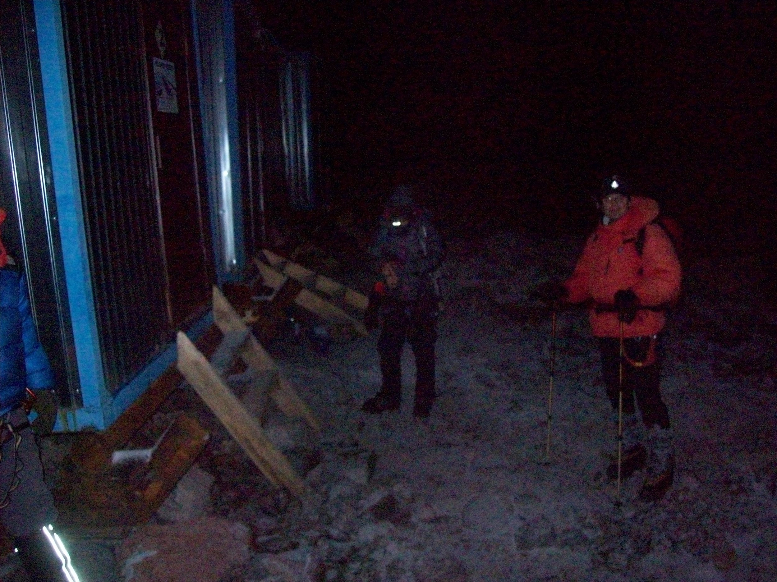 We started our climb very early, and we used our headlamps for several hours while it was dark out. The wind was howling, and it was very cold which caused the batteries in my headlamp to die. We took a snowcat up the first section, and braved the cold for the rest.
