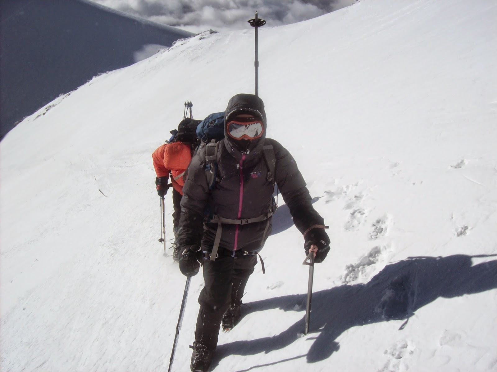 Here we are traversing the steep part. I was definitely the slowest because I was so scared.