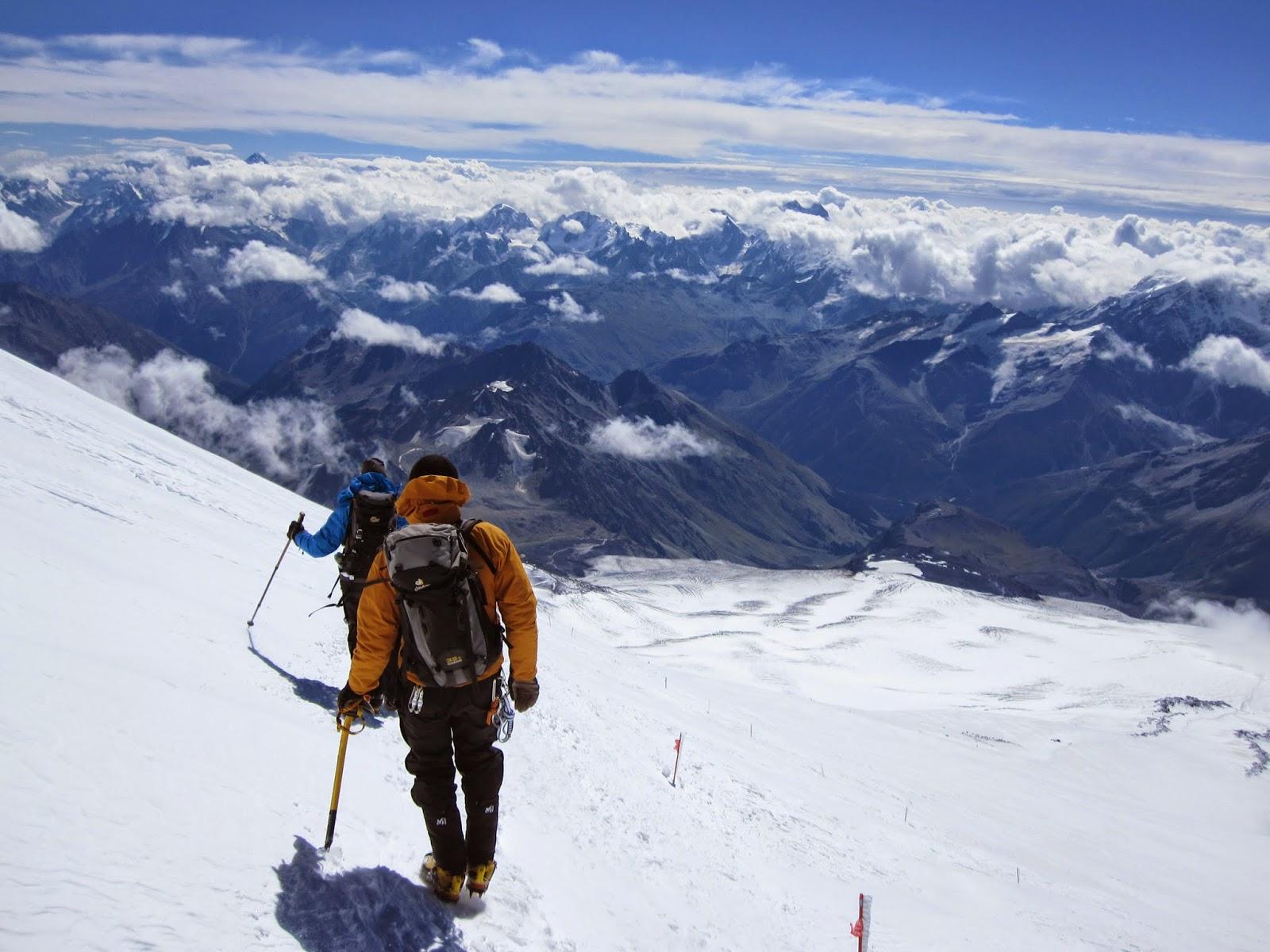 Amazing views of the Caucasus Mountains below us as we are descending Mount Elbrus