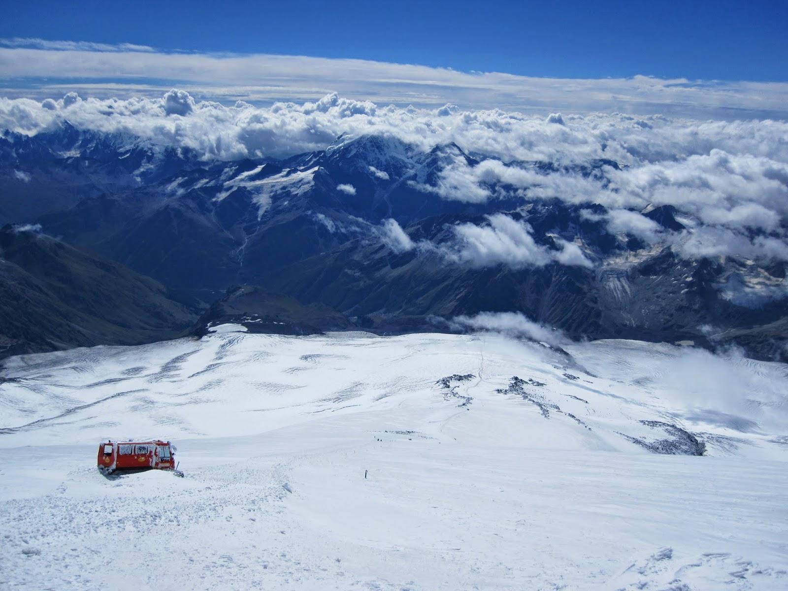 Deserted snowcat on the slopes of Mount Elbrus