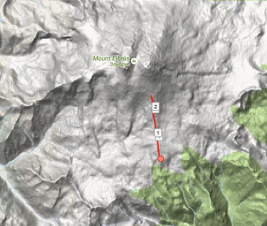 GPS track from acclimatization hike on Mount Elbrus.