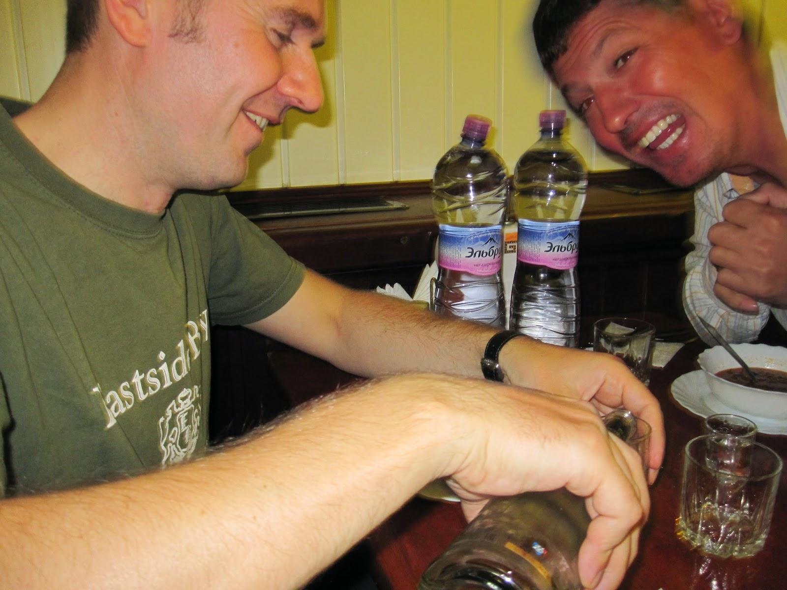 Getting drunk on vodka in Russia