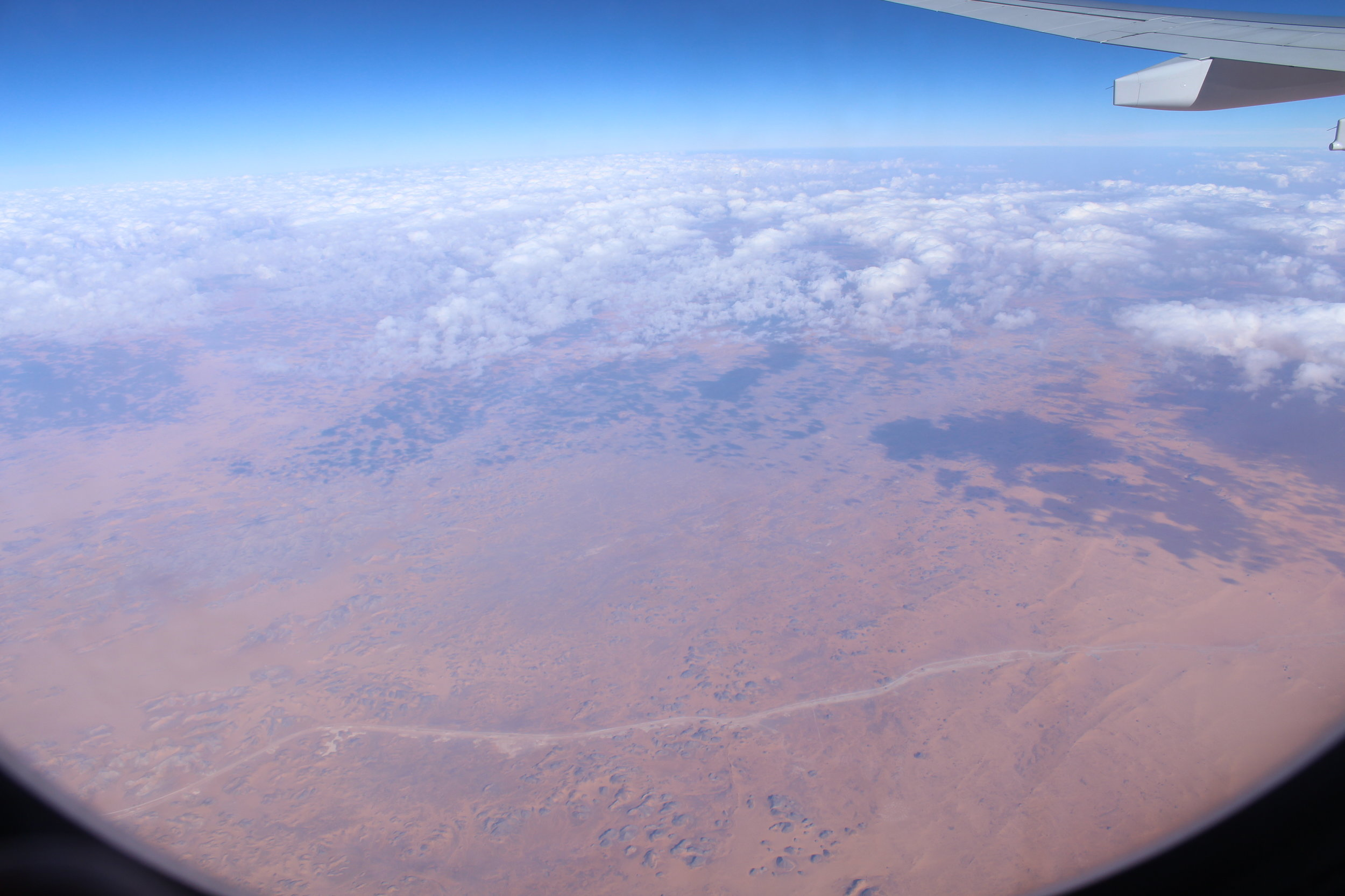 Now we're over the desert on our flight.